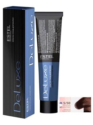 Краска-уход 5/50 DE LUXE для окрашивания волос светлый шатен красный для седины - фото 5045